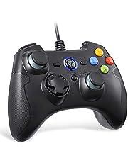 [Wired PS3 PC Controller] EasySMX Controller Joystick voor games met kabel met dubbele vibratie, turbo en knoppen aan de voorkant voor Windows/Android / PS3 / TV box (zwart)
