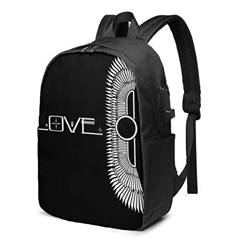 Hdadwy The Cult USB School Backpack Large Capacity Canvas Satchel Casual Travel Daypack for Adult Teen Women Men 17in
