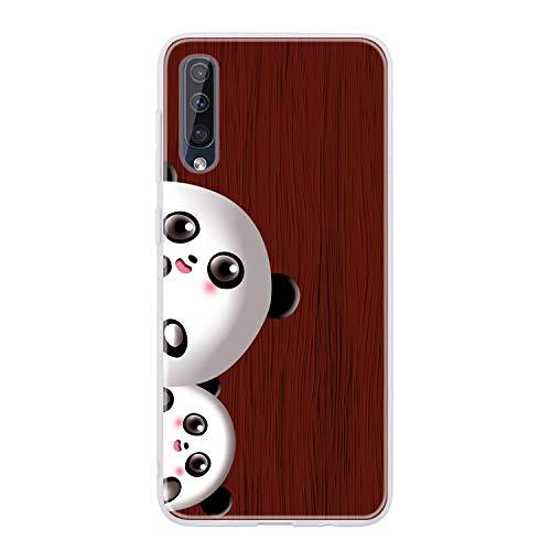Miagon Holz Korn Hülle für Samsung Galaxy A70,Ultra Dünn Weiche Silikon Handyhülle Cover Stoßfest Schutzhülle mit Schöne Süß Panda Muster,Braun