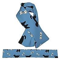 冬のフランネルネックスカーフぬいぐるみ両面ウォームクロススカーフとネックラップカラーネッカチーフ女性男性子供用、ハッピープードルブルー