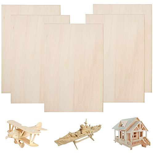 FOGAWA 1/16 Balsa Wood Sheets 12×8 Inch Unpainted Thin Natural Unfinished Wood Hobby Wood Board for Making Mini House Airplane Ship Boat DIY Model (5 Pcs)