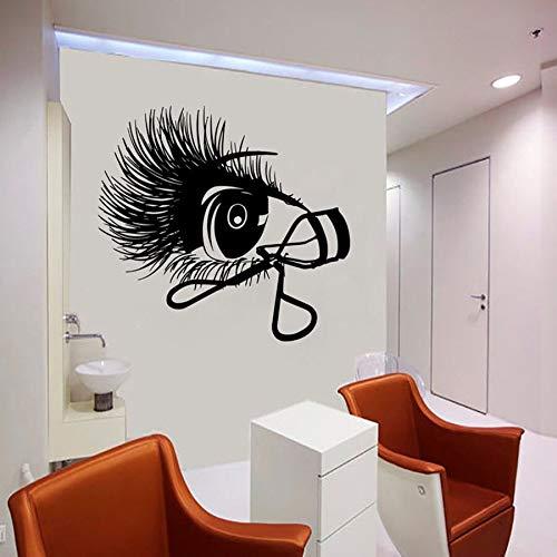 Etiqueta de la pared de pestañas salón de belleza chica dormitorio decoración interior ventana vinilo pegatina rizador de pestañas arte mural de pestañas