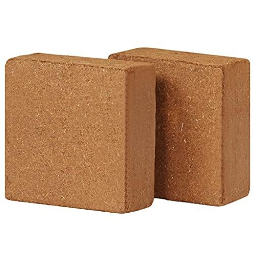 Ksodgun Bloques de Fibra de Coco 2 Piezas de Ladrillos de Humus, Tierra de siembra, Tierra para macetas para Habitaciones, balcón 5 kg, 30 x 30 x 10 cm