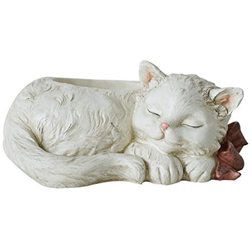KJX Flower Pot, Little White Cat Creative Flower Device, High-Strength Resin Material, Environmental Protection Without Odor, Wear-Resistant