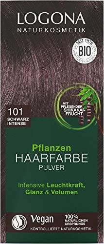 Logona Bio Pflanzen Haarfarbe Pulver 101schwarz intense (6 x 100 gr)