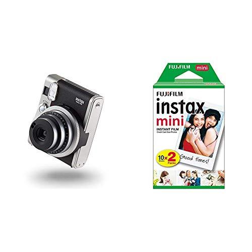 instax Mini 90 NEO Classic Camera with 10 Shots, Black & Mini Film, 20 Shot Pack