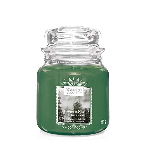 Yankee Candle Duftkerze im Glas (mittelgroß), Evergreen Mist, Alpine Christmas Collection, Brenndauer bis zu 75Stunden