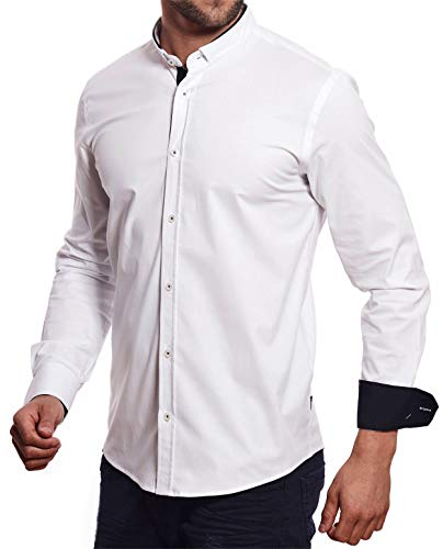 CARISMA Casual Herren Hemd Slim-Fit Stehkragen Hemd Langarm, White, XL