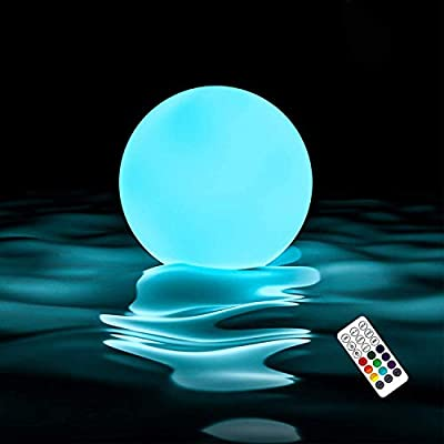 Homly Floating Led Pool Lights Remote Control RF, Light Up Pool Balls, 16 Color Changing Glow Balls Battery Powered, IP67 Waterproof Pool Toys Hot Tub Bathtub Light Toy, Pool Decor Outdoor Indoor