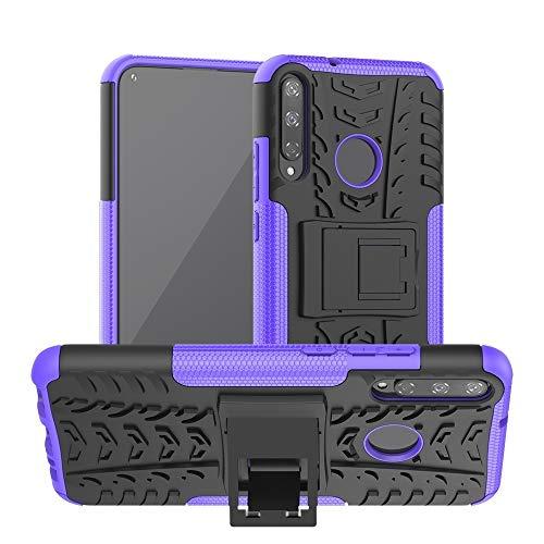 BEIJING  PROTECTIVECOVER+ / for Huawei Honor Play 3 / P40E Textura de neumáticos TPU + PC Funda Protectora con Titular (Rojo), Fashion Phone Funda para Protector (Color : Purple)