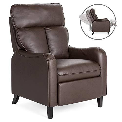Best Choice Products Upholstered Faux Leather English Roll Arm Chair Recliner w/ 160-Degree Reclining, Leg Rest - Brown