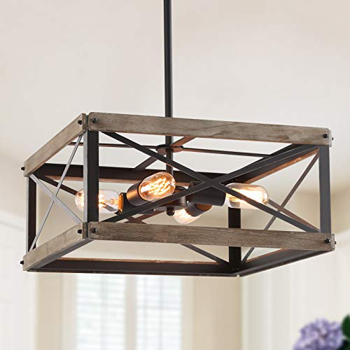 GEPOW Farmhouse Cage Chandelier, Rustic Wood Square 4 Light Fixture for Dining Room, Living Room, Bedroom, Foyer and Kitchen Island
