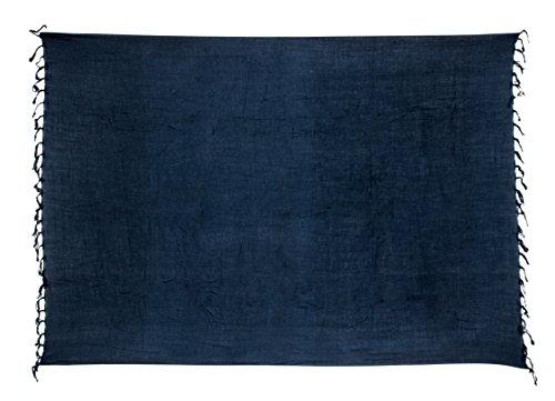 Ciffre Premium Sarong Pareo Wickelrock Strandtuch Lunghi Dhoti Schlicht Blickdicht Blau