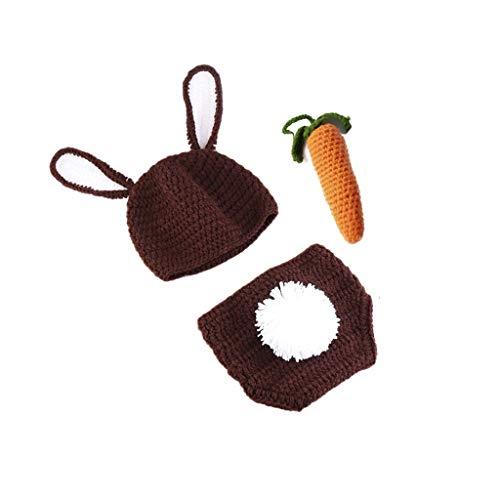 JOYKK 3 Piezas Accesorios de fotografía para recién Nacidos Trajes de bebé Hechos a Mano Sombrero de Ganchillo de Conejo de bebé