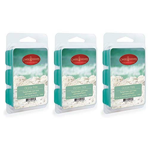 CANDLE WARMERS ETC 3 Pack Soy Wax Blend Classic Fragrance 2.5 oz Wax Fragrance Melt Tart, Ocean Tide