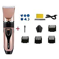バリカン 男性用,すべての-インチ-1 つ ヘアカットキット,調整可能な速度 低ノイズ 理髪の毛のクリッパー,ヘアカットキット 4ガイドコーム付き ピンク
