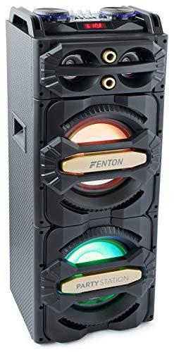 Fenton LIVE2101 – Enceinte de soirée à LED, idéale pour soirées à la maison et karaokés, 800 Watts, LEDs intégrées, SD et USB , écran de lecture LCD