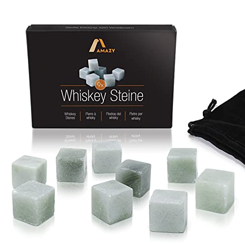 Amazy Set Whisky Stones in pietra ollare naturale (9 PEZZI) incl. Sacchetto di velluto - Cubetti ghiaccio Whisky in pietra ollare naturale, riutilizzabili e con confezione regalo