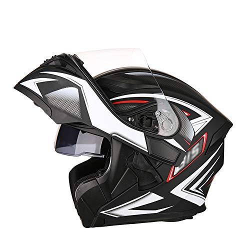 Casco de Visera Doble de Cara Completa para Motocicleta, Casco Lavable Transpirable anticolisión para Motocicleta-Black-XXL