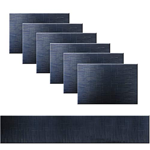 Bright Dream Placemats for Kitchen Table Washable Easy to Clean PVC Placemat Heat-resistand Woven Vinyl Table Mats (1 Table Runner and 6 Placemats, Navy)