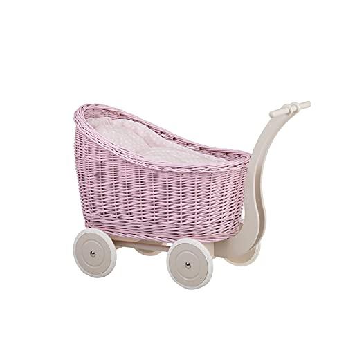e-wicker24 Puppenwagen aus Weide - pink, Korbpuppenwagen, Weidenwagen Exclusive
