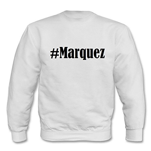 Reifen-Markt Sudadera Hashtag #Marquez para mujer, hombre y niños en los colores negro, blanco y azul con impresión Blanco 152 cm