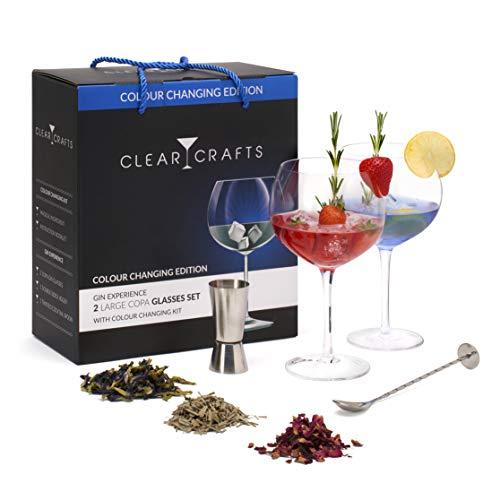 Clear Crafts, set regalo di 2 bicchieri da gin con kit cambio colore, 2 bicchieri G&T, cucchiaio da cocktail Jigger e Pro | 7 bottiglie di gin colorato | Libretto di istruzioni incluso