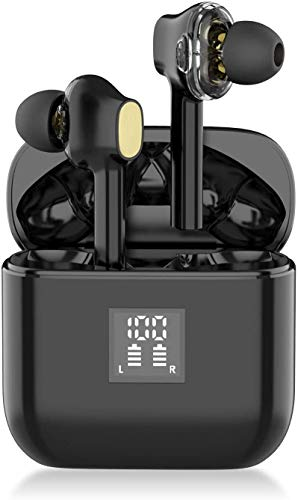 YW YUWISS TWS07 Bluetooth 5.0 True Wireless Earbuds with Charging Case Wireless in Ear Earphones IPX6 Sweatproof with Noise Cancelling Mic for Apple iPhone 11/8/7 Android Samsung (Black)