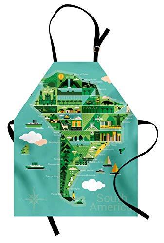 Argentinien-Schürze, Südamerika-Karte mit Sehenswürdigkeiten Monumente und Attraktionen müssen Orte besichtigen, Unisex-Küchenschürze mit verstellbarem Hals zum Kochen Backen Gartenarbeit, Multicolor