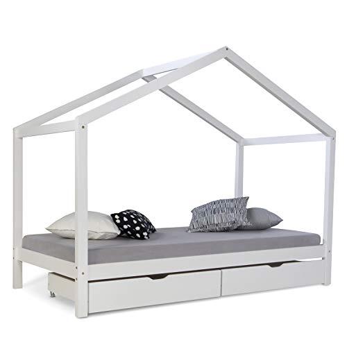 Homestyle4u 1922, Kinderbett Mit Lattenrost, Hausbett 90x200 Weiss mit Bettkasten, Holz Kiefer