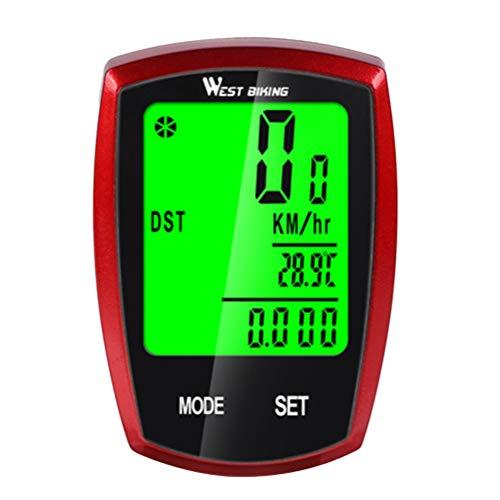 CLISPEED Computador de Bicicleta à Prova D Ãgua Ciclismo Computador Backlight Hd Tela Lcd Velocímetro de Bicicleta para Mountain Bike (Vermelho)