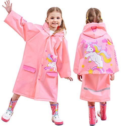 Kinder Regenmantel mit Kapuze Jungen Mädchen Regenjacke Regenfestes Poncho Wasserdichte Regencape Wiederverwendbar Regenanzug, Rosa Einhorn