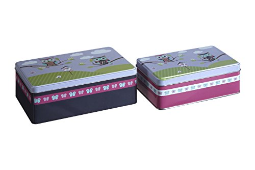 Premier Housewares Happy Owls Boîtes de rangement - Petite Boîte Rectangulaire de Stockage - Boîte de conservation -Lot de 2