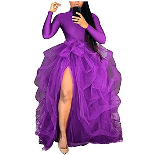 Falda larga de tul de cintura alta para mujer, falda de cint