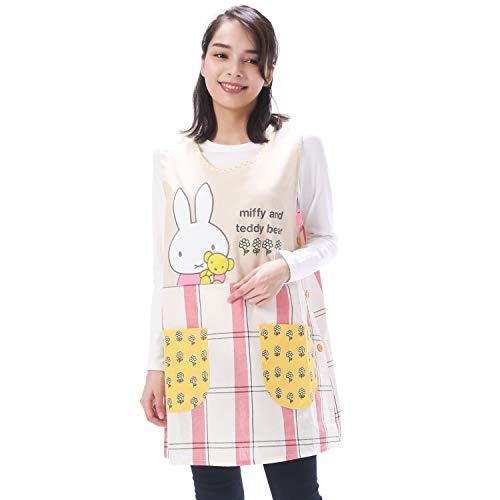 NISHIKI[ニシキ] キャラクターエプロン《ミッフィー》幼稚園の先生や保育士さんに【選べるカラー/大きいサイズも】速乾 シワになりにくい 動きやすいショート丈 さらりと軽い 綿ポリ ポケット付き レディース 背付エプロン apron 【レッド/LL-