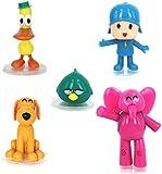 Mdcgok HYHSM Cartoon Pocoyo Zinkia PVC Doll Figuras de acción Juguete para niños Regalo de cumpleaños 5 unids/Bolsa Pequeña muñeca Youyou