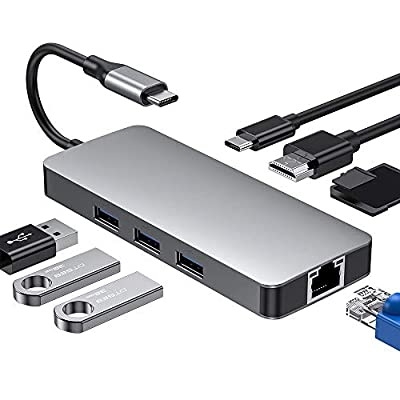 Dual type C hub 8 in1, Type C Hub with HDMI (4K), Thunderbolt 3(40Gb/s), 3 USB 3.0 Ports(5Gbps), type C port,SD and Micro SD card reader for MacBook Pro 13& 15,ThinkPad *1 Carbon 2017 and etc