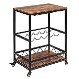 Home Bar Serving Cart, Mobile Kitchen Wine Rack Cart, Industrial Vintage Style, Wood Metal Frame Serving Trolley