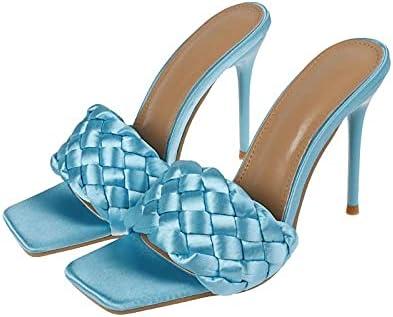 Richealnana Women's High Stiletto Heel Mules Square Open Toe Woven Slip On Slide Sandals