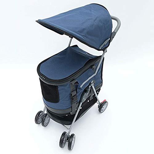Pet Stroller for Hunde, 3-Rad, faltbare Katze Kinderwagen mit abnehmbarem Liner und Speicher-Korb, for kleine bis mittlere Pet, mehrere Farben (Color : Blue)