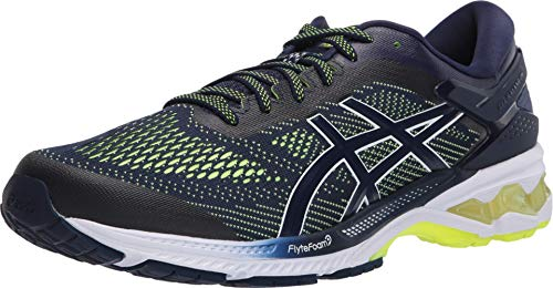 ASICS Men's Gel-Kayano 26 Running Shoes, 7M, Peacoat/Safety Yellow