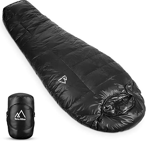Terra Hiker Down Sleeping Bag, Outdoor Mummy Bag for Backpacking and Mountaineering, Lightweight 4-Season Sleeping Bag for Men, Women, Max User Height 190 cm, Weighs Only 1.2 kg