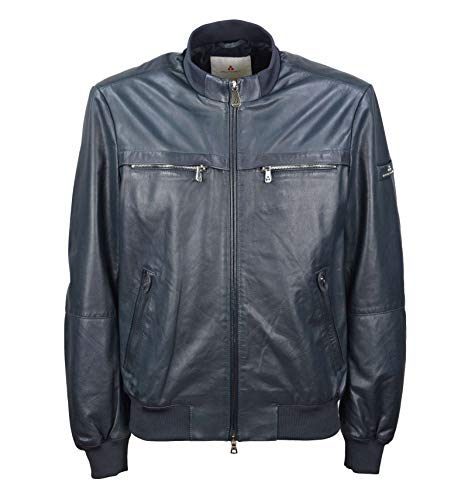 PEUTEREY - Uomo Sands Leather TRT 206 Giacca Bomber in Pelle Blu - 2XL