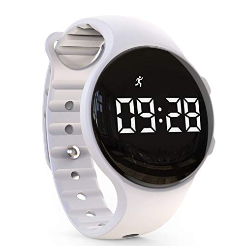 synwee Kids Led Pedometer Watch, Digital Steps Tracker, Non-Bluetooth, Vibrating Alarm Clock, Stopwatch, Great Gift for Children Teens Girls Boys (White)