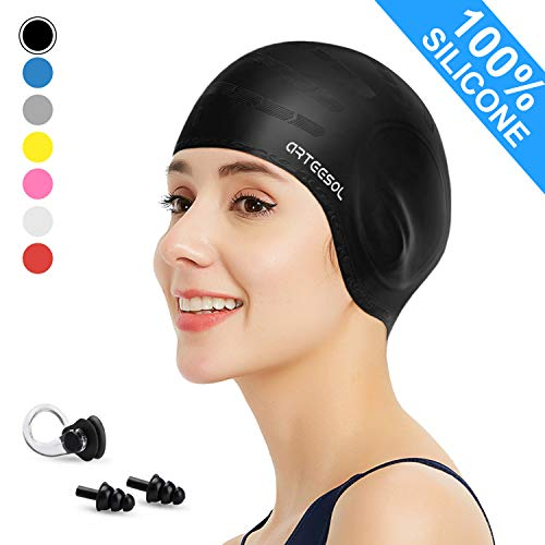 arteesol Swimming Cap, Silicone Swim Cap for Women Men, Durable Non-Slip Waterproof Swim Cap Protect Ears, Long Hair for Adults, Older Kids, Boys and Girls (Grey, 1pcs)