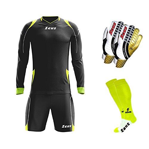 Zeus Torwartset Paros Set bestehend aus Set + Socke + Handschuhe – Fußball – Training – Türverteidigung (2XL, schwarz-neongelb)