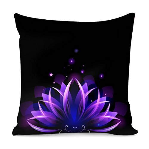 Amzbeauty - Fundas de almohada con estampado de loto morado 100% algodón, funda de almohada cuadrada de 18 x 18 cm, decoración para el hogar, sala de estar, sofá