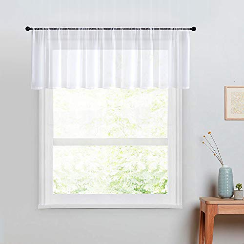 MRTREES White Sheer Valance Curtains 16 inch Length Bedroom Window White Voile Curtain Valances Bathroom Sheer Living Room Rod Pocket Kitchen Valances 1 Panel