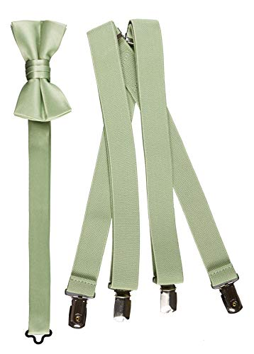 Tuxgear Boys Bow Tie and Suspender Set Combo, Sage, Young Men 40 Inch (40' Young Mens, Sage)