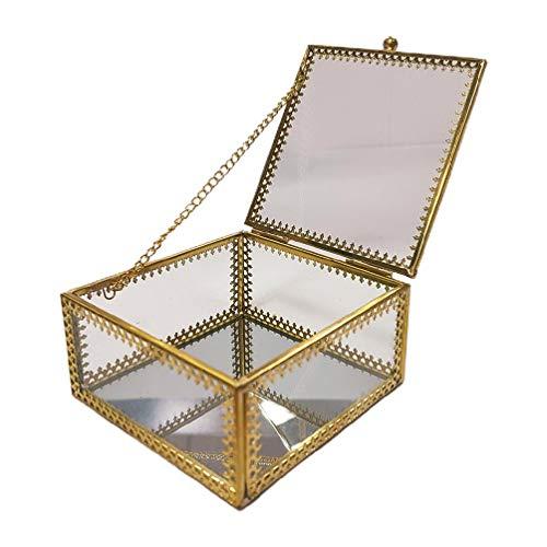 Fugift Joyero de cristal vintage de latón dorado adornado con bordes de encaje, organizador de joyas geométrico cuadrado para guardar joyas, caja decorativa para el hogar